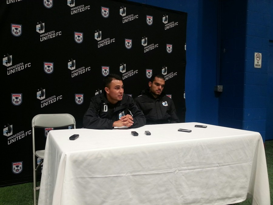 Miguel Ibarra and Pablo Campos talking with the media after the game