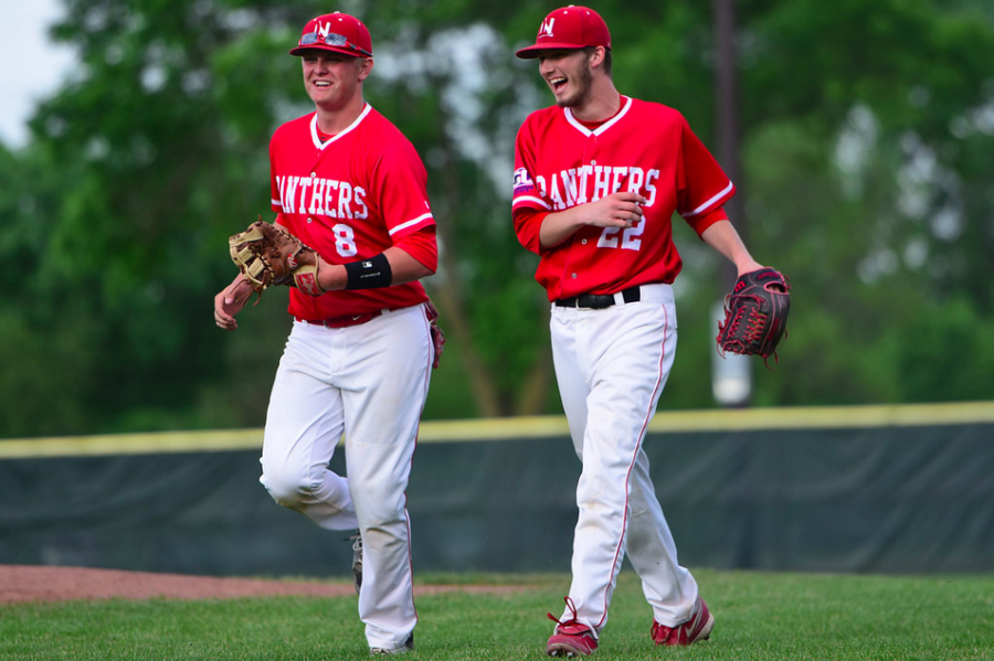Grant Gunderson (left) shares a laugh with teammate Billy Riach. CREDIT: Nick Lieser