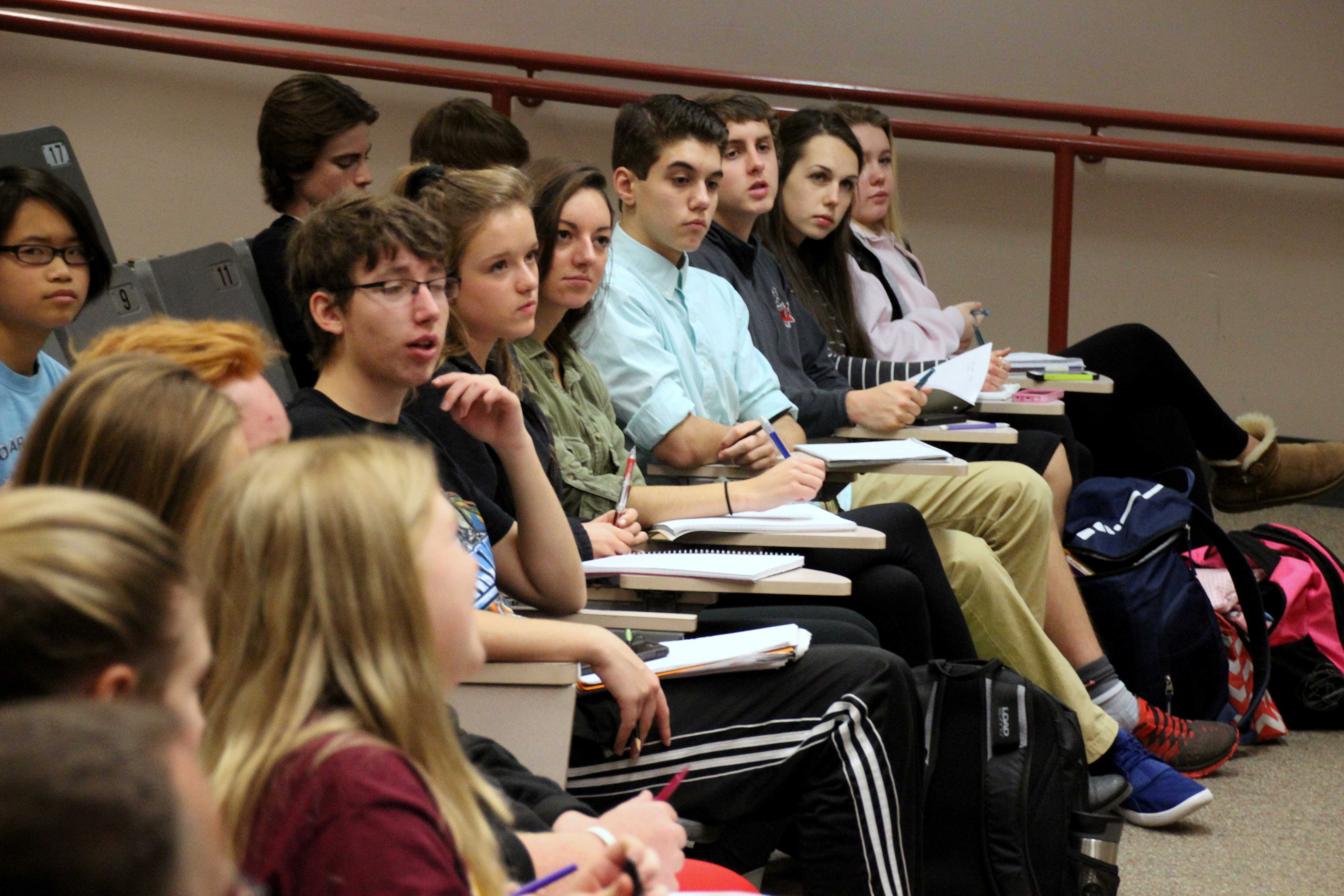 Lakeville North students listen as Kurpius speaks about where journalism is headed.