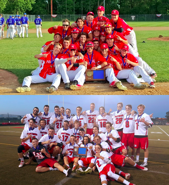 The Lakeville North boys' lacrosse and baseball team both celebrate their state berths following the victory
