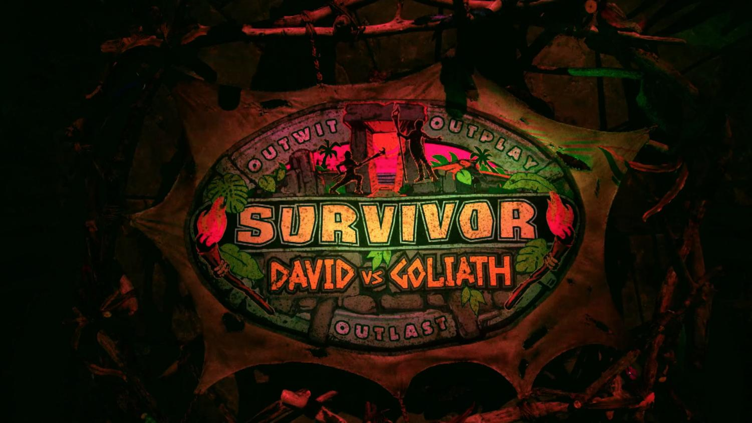 The Survivor banner highlights competition and challenge between the two teams of David and Goliath.