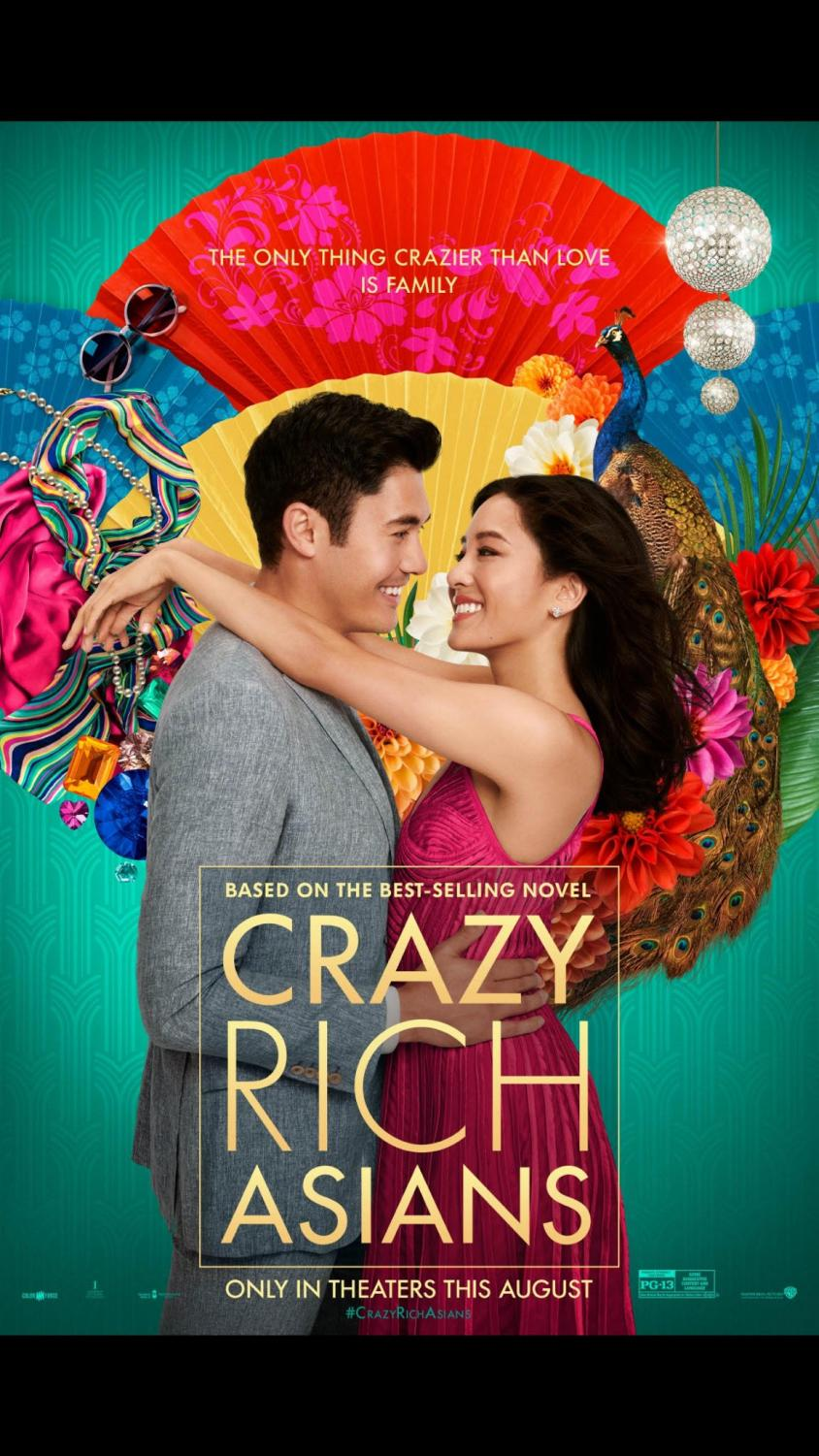 Nick Young and Rachel Chu, snuggle up for The Crazy Rich Asians movie poster.